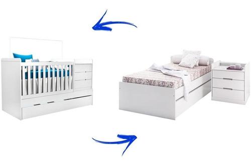 berço americano vira cama c/ auxiliar mosquiteiro e gavetas