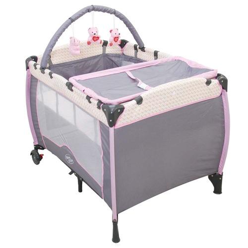 berço cercado desmontável  plus baby style - rosa jardim