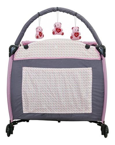 berço cercado desmontável plus rosa jardim baby style