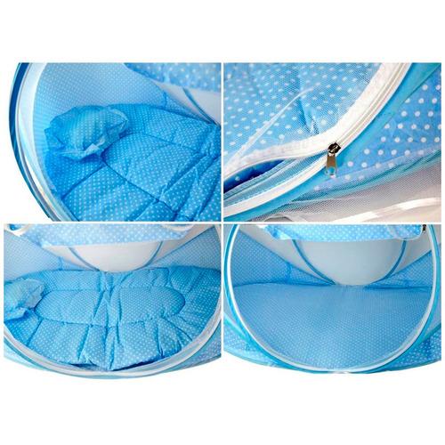 berço dobravel portátil mosquiteiro colchão rosa ou azul