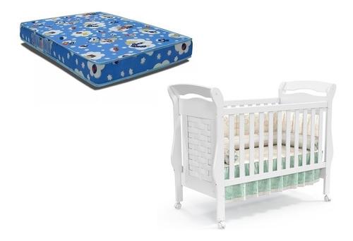 berço elegance mini cama + colchao ortobom - mobily baby