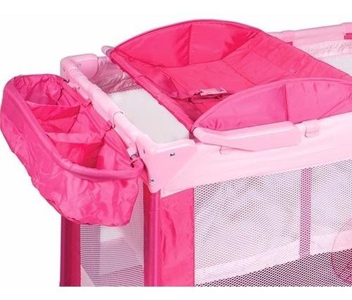berço portátil amici rosa com trocador e porta objetos