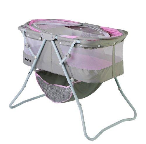berço portátil, dobrável e com mosquiteiro rosa com cinza