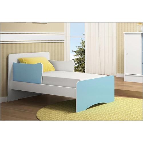 berço que vira mini cama super doce magia branco com azul -