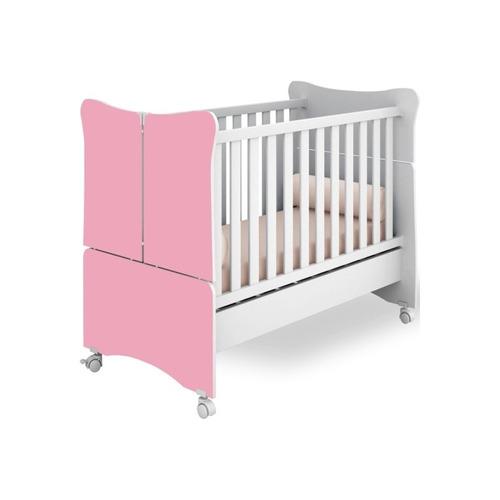 berço que vira mini cama super doce magia branco com rosa -