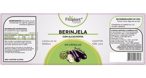 berinjela c/ alcachofra fitoplant 120 cápsulas 500mg caixa 4 potes premiun