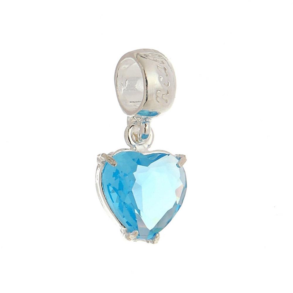 6fd0ad4b980f4 Berloque   Pingente Prata Coração Pedra Azul Encanto - R  39,00 em ...