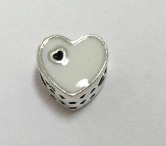 berloque prata 925  p/ pulseira pandora coração rosa