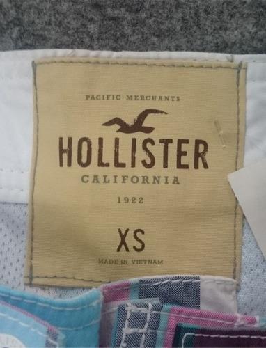 bermuda calção de banho hollister xadrez xs pp nova original