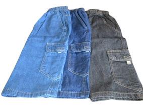 5d4c99abce7bb6 Bermuda Cargo Jeans Cós De Elástico E Cordão ( 50 A 60 )