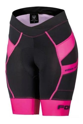 bermuda ciclismo feminina free force stage preta/rosa
