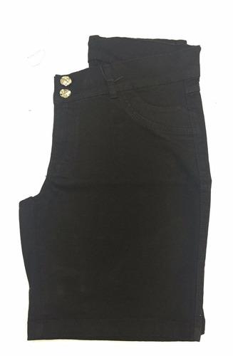 bermuda ciclista feminina preta elastano plus size 44 ao 60