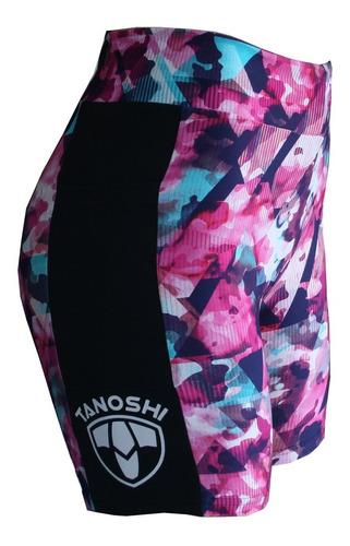 bermuda corrida run fem cam pink tanoshi com bolso lateral