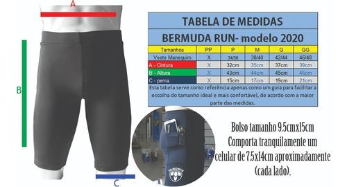 bermuda corrida run masc camuflado preto com bolso lateral