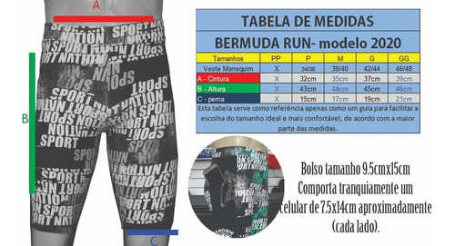 bermuda corrida run masc nation tanoshi com bolso lateral