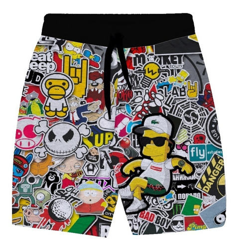 bermuda de moletom bart simpson stickers short masculino