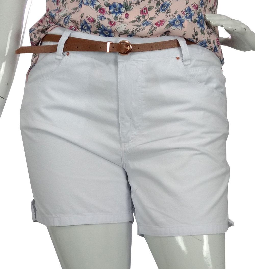 d46947f34 bermuda de sarja feminina plus size branca cambos c/ cinto. Carregando zoom.