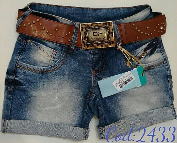 bermuda jeans com cinto oppnus feminina lycra 2433