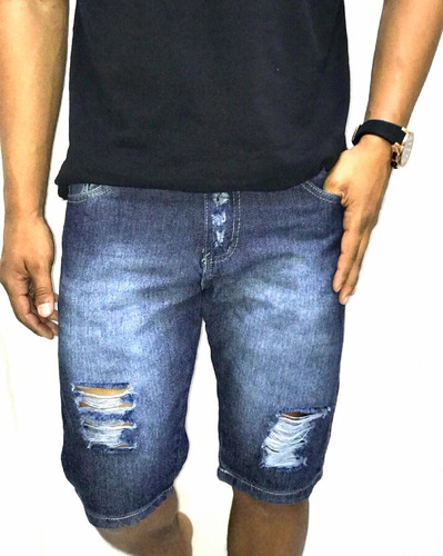 bermuda jeans destroy shorts rasgado rasgo desfiad moda 2018