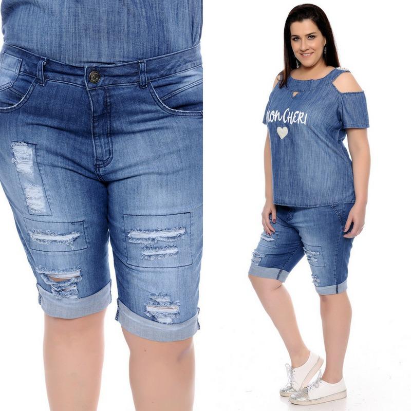 cd327679d Bermuda Jeans Feminina Boyfriend Plus Size 46 Ao 56 - R$ 192,99 em ...