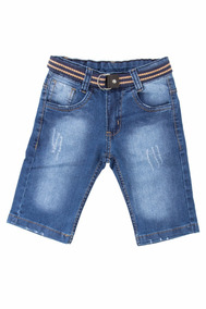 bd9115ca5f Bermuda Jeans Lycra Tamanhos 2-3 Anos Bebê Meninos +cinto