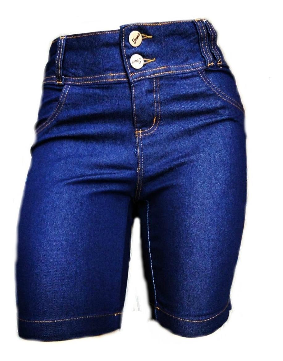 5156398a967841 Bermuda Jeans Pedal Ciclista Feminina Cintura Alta Plus Size