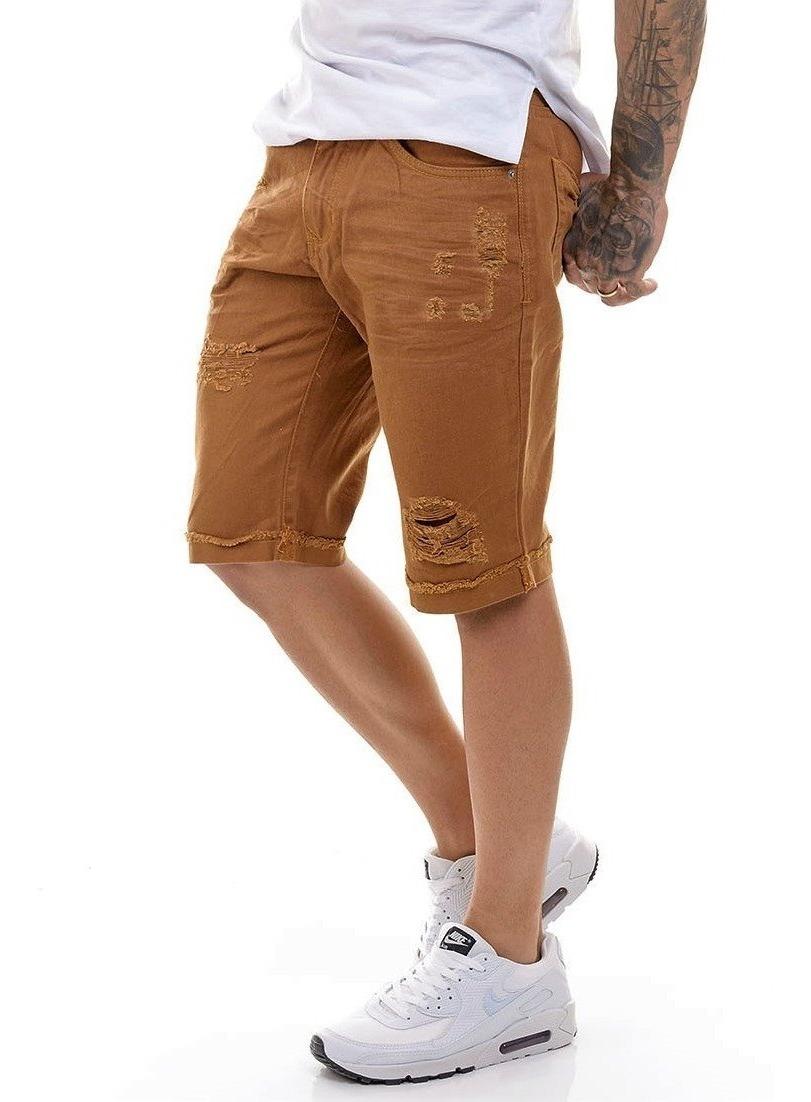 Bermuda Premium Masculina Jeans Caramelo Slim Offert Fit 76gvYbfy