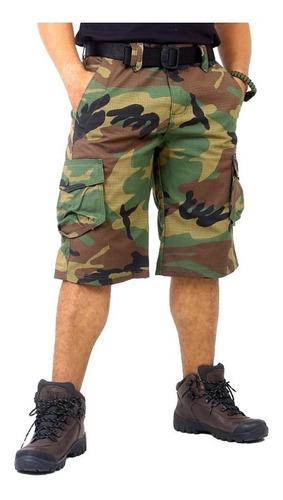 bermuda masculina cargo camuflada ripstop cmf woodland