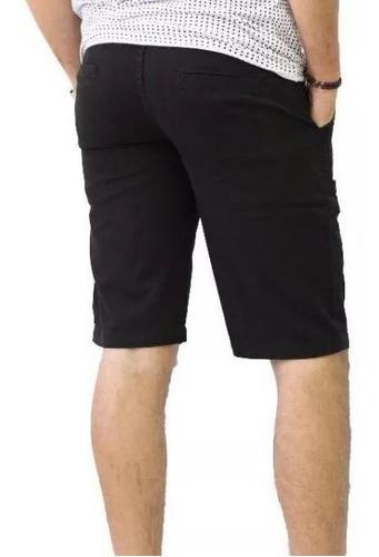 bermuda masculina de sarja casual colors preto