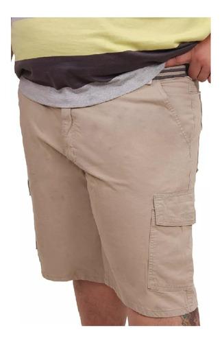 bermuda masculina sarja lisa cargo plus size até nº 60