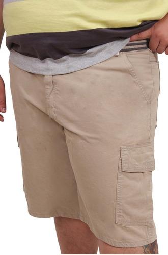 bermuda masculina sarja lisa cargo plus size tamanho grande