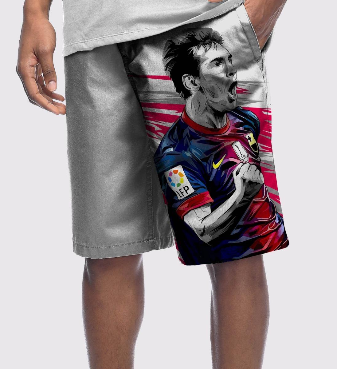 b9cbc41f20377 Bermuda Microfibra Futebol Soccer Messi Barcelona Argentina - R  149 ...