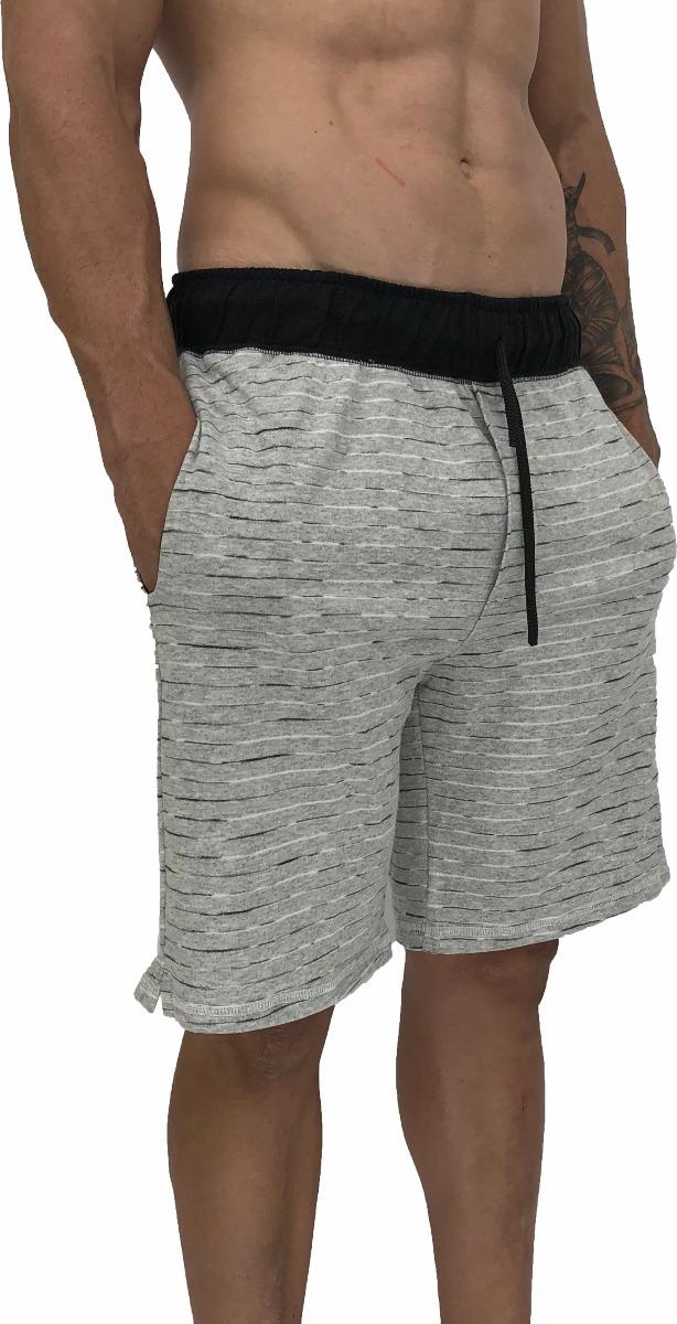 24d493b5ba1496 Bermuda Moletinho Masculina Mescla Listrado Shorts Moletim