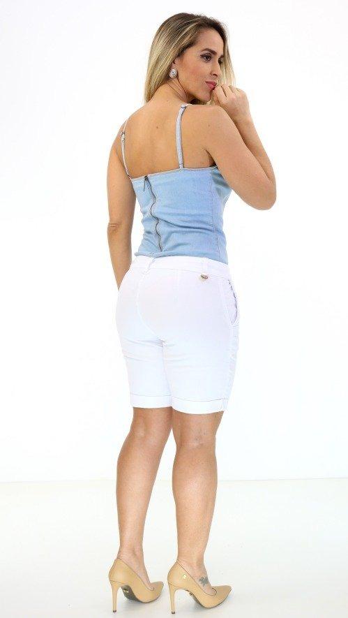 d0e9ed61a Bermuda Morena Rosa Sarja Branco Pv18 - R$ 251,70 em Mercado Livre