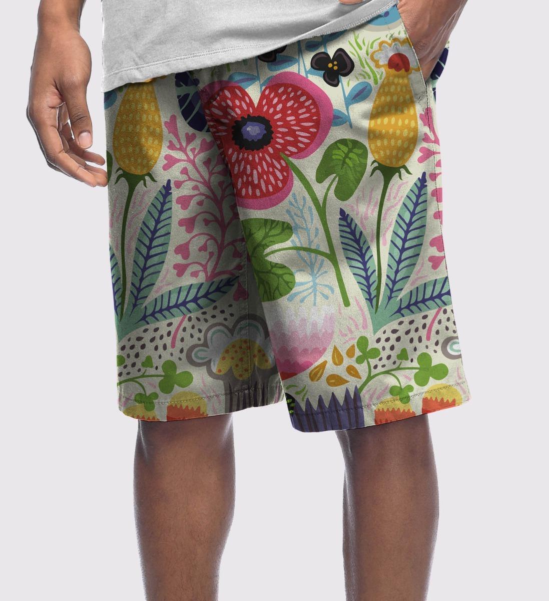 Bermuda Short Masculina Microfibra Florida Tumblr Tropical Carregando Zoom