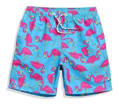 bermuda short tactel 3d full masculina flamingo praia