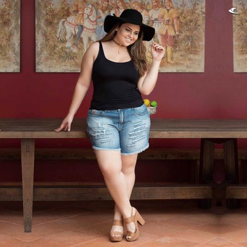 bermuda shorts jeans plus size rasdado cintura alta