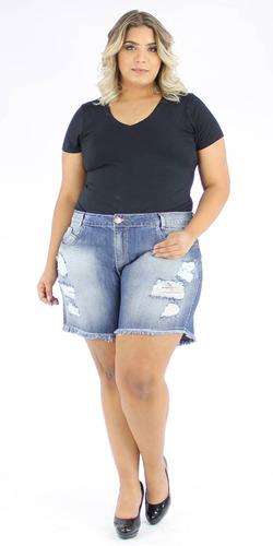 bermuda shorts jeans plus size rasdado cintura alta promoção