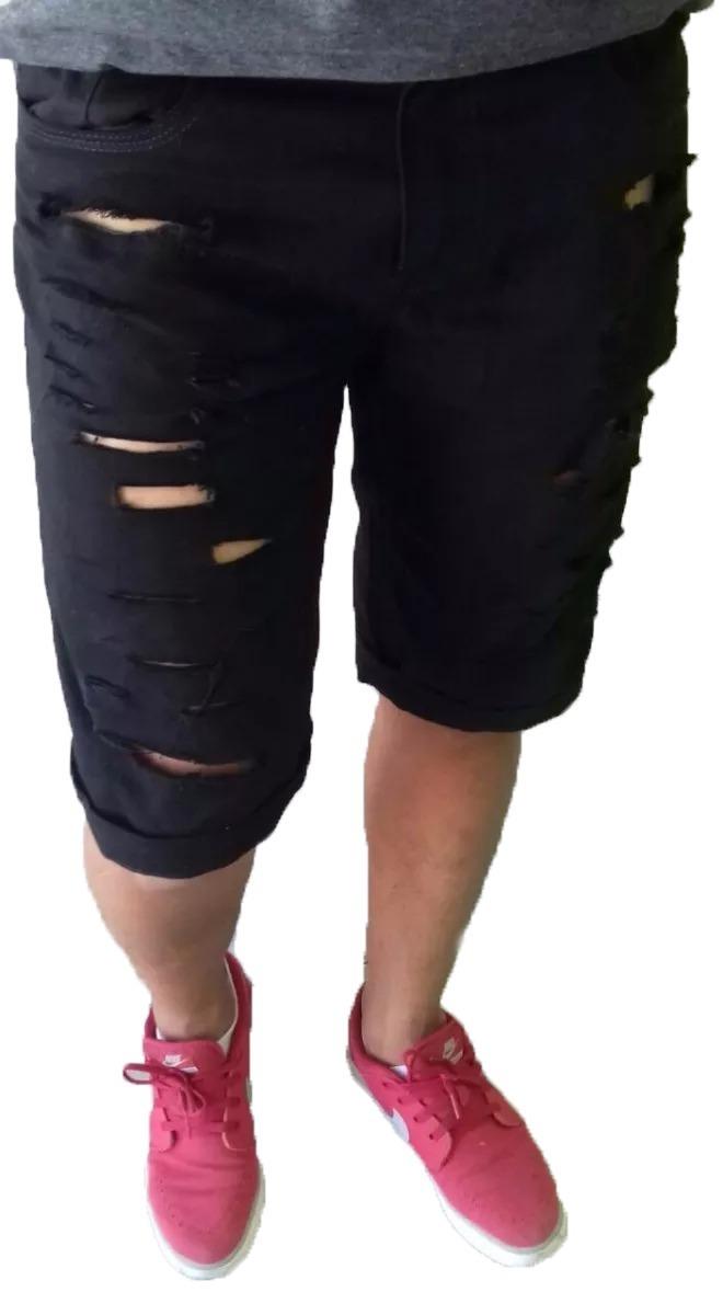 162b134e6 Bermuda-shorts-masculina-slim-rasgado-preta-oferta-fretegrat - R ...