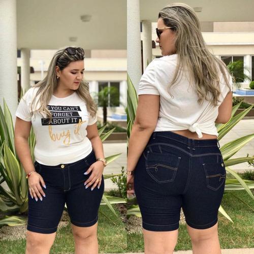 bermuda shorts plus size com lycra hot pants jeans gordinhas