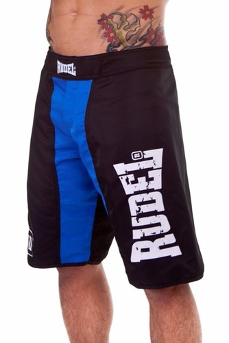 bermuda shorts tactel academia rudel jiu-jitsu preto e azul