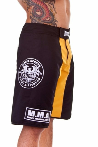 bermuda shorts tactel academia rudel mma preto e amarelo