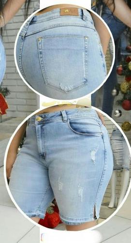 bermuda sol jeans plus size com lycra azul