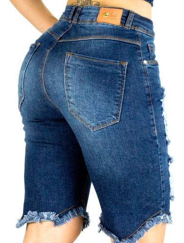bermuda sol jeans pluz size rasgado com lycra azul