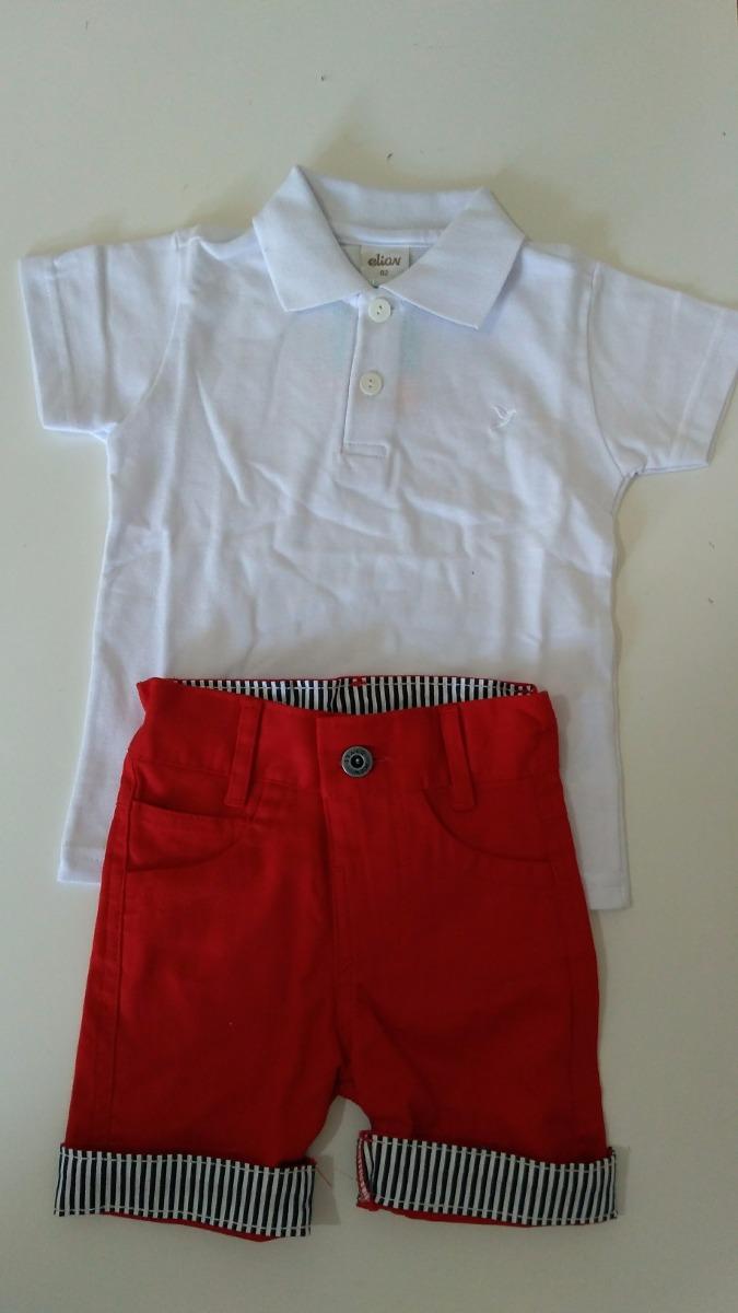 bermuda vermelha com camisa polo branca 1 à 4 anos. Carregando zoom. 5672d555fb63e