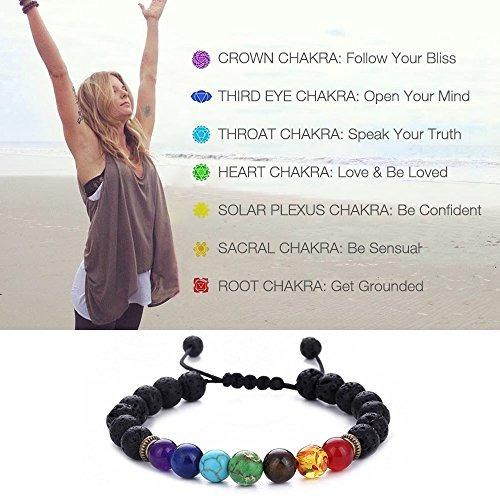 beskit hombres mujeres 8mm lava rock 7 chakras beads bracele
