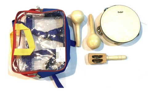 besser lt3 kit set percusion infantil niños escuela + bolso