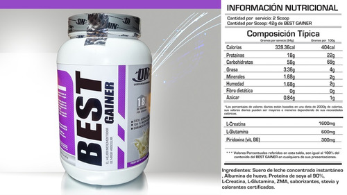 best  gainer ..2 kilos de pura proteina creatina y glutamina