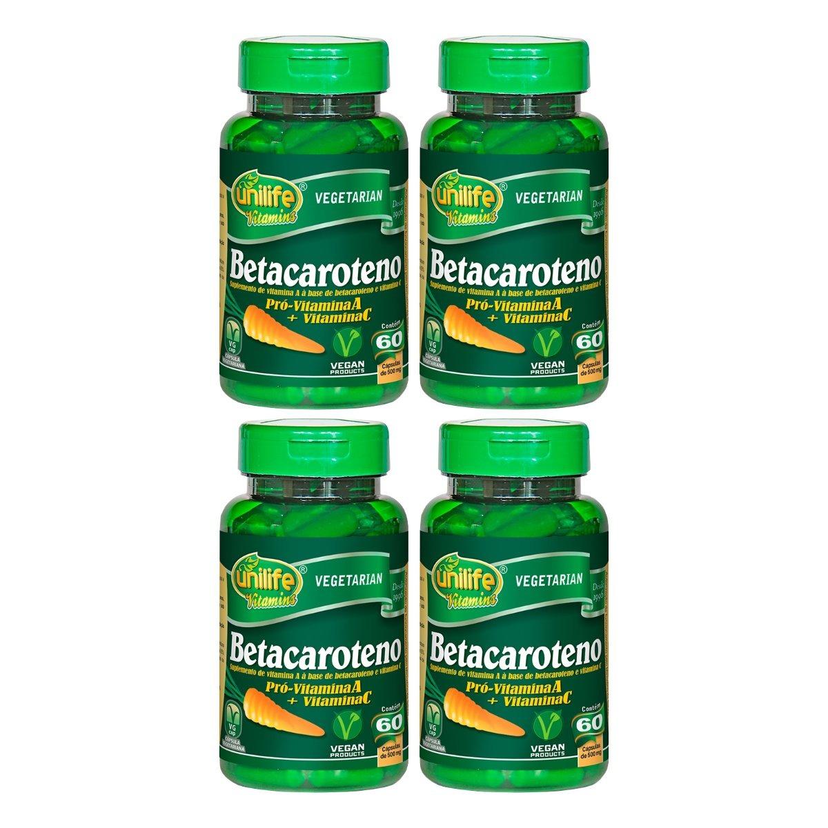 Betacaroteno 60 Cápsulas 500mg Unilife Kit 4 Unidades