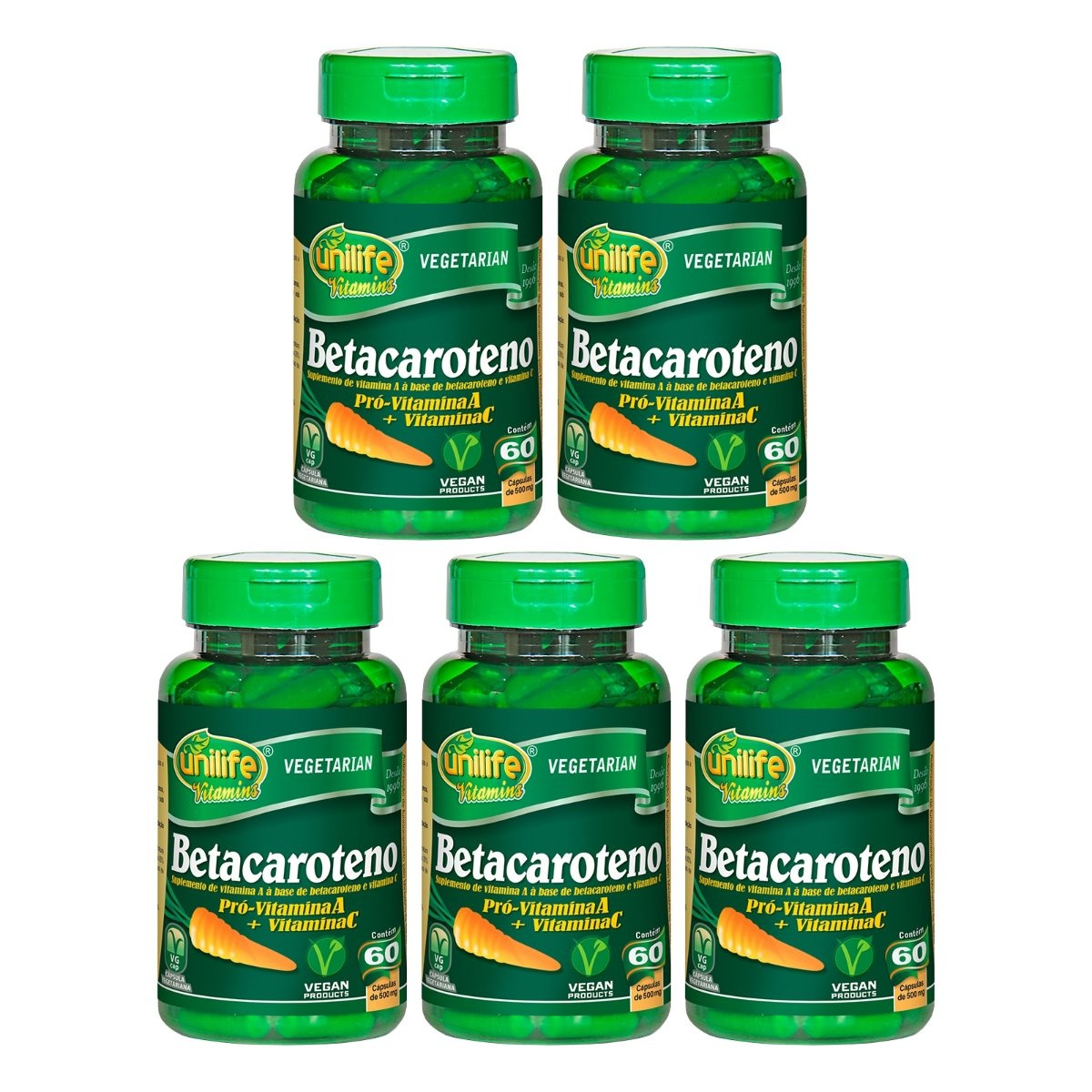 Betacaroteno 60 Cápsulas 500mg Unilife Kit 5 Unidades
